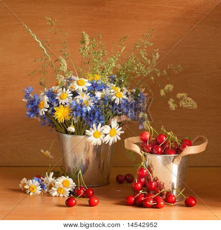Beautiful Still Life With Cherries And Wild Flowers