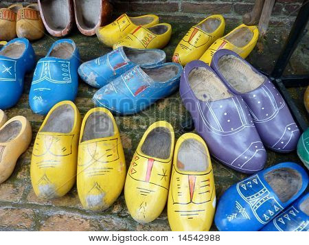 Ancient colorful wooden shoes