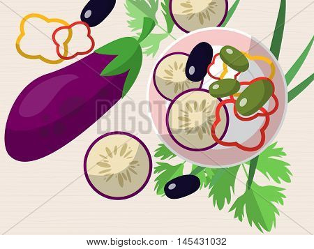 Still Life With Eggplant, Chopped Peppers, Olives, Fresh Herbs And A Plate On The Table. Vector