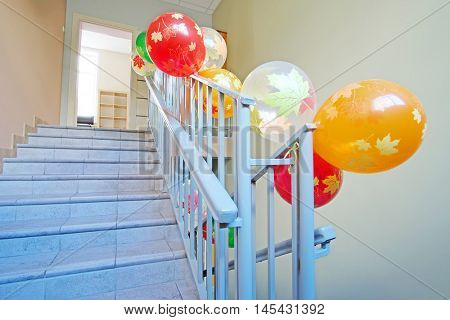 Stairway decorated by air balls