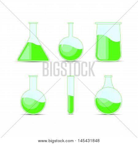 Set Chemical Flask. Erlenmeyer Flask, Distilling Flask, Volumetric Flask, Test Tube. Vector Illustra