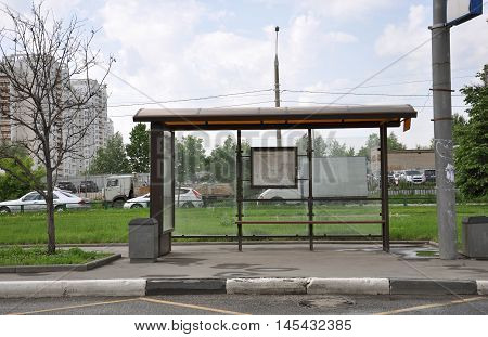MOSCOW, RUSSIA - 05.292015 An empty bus stop in Mitino