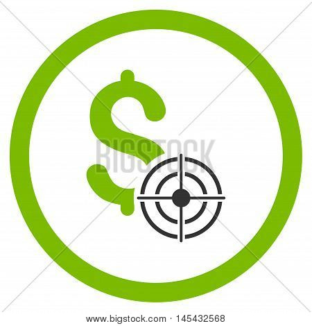 Business Target rounded icon. Vector illustration style is flat iconic bicolor symbol, eco green and gray colors, white background.