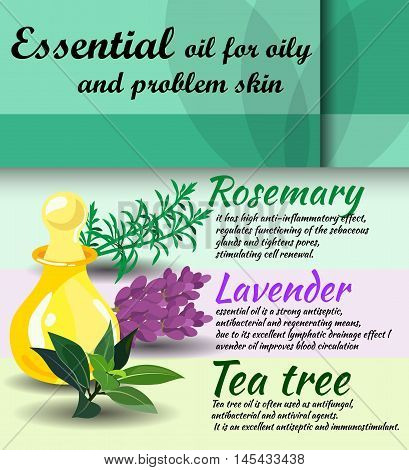description of useful properties of rosemary lavender tea tree essential oils / care for oily skin