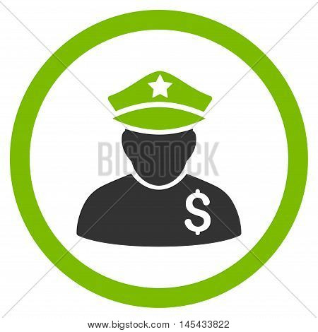 Financial Policeman rounded icon. Vector illustration style is flat iconic bicolor symbol, eco green and gray colors, white background.