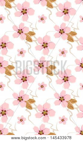 seamless pattern with almond and flower / flower`s pattern