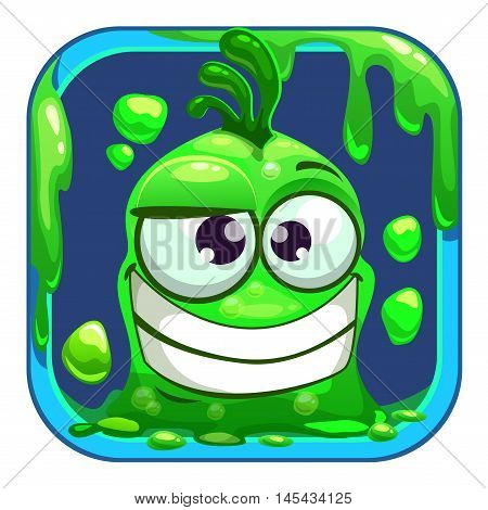 App icon with funny green slimy monster. Vector game asset.