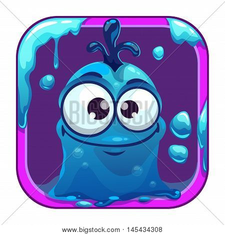 App icon with funny blue slimy monster. Vector game asset for application store.