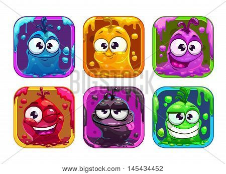 Funny cartoon liquid characters in the frame, vector square colorful app icons set for game logo design