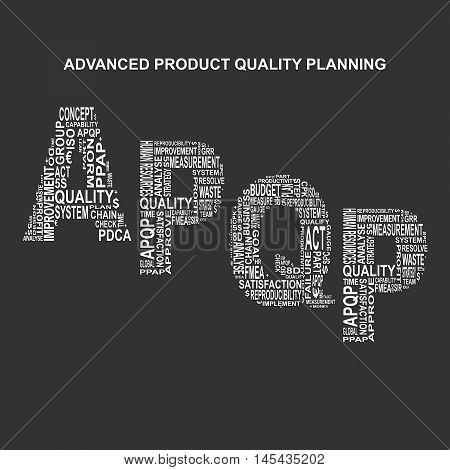 Advanced product quality planning typography background. Dark background with main title APQP filled by other words related with advanced product quality planning method. Vector illustration