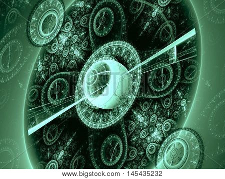 Abstract computer-generated green image of a circle with an elegant ornament, reminiscent of an old mechanical watches