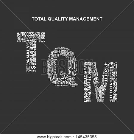 Total quality management typography background. Dark background with main title TQM filled by other words related with total quality management method. Vector illustration