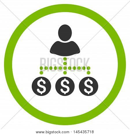 User Payments rounded icon. Vector illustration style is flat iconic bicolor symbol, eco green and gray colors, white background.