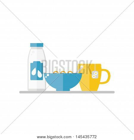 Breakfast food on white background. Corn flakes, milk, tea cup. Healthy breakfast. Flat style vector illustration.