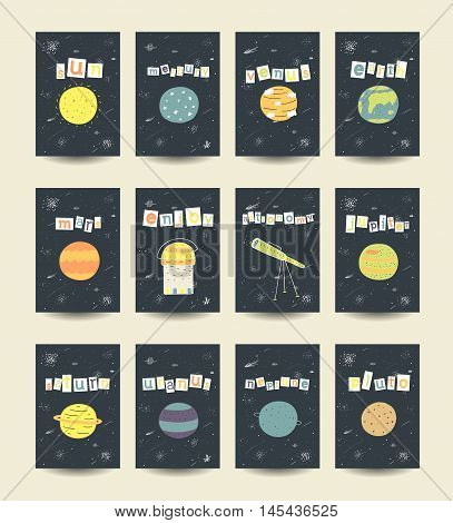 Cute hand drawn doodle cards brochures with comic objects planets including sun mercury venius earth mars jupiter saturn uranus neptune pluto stars galaxy comet milky way telescope