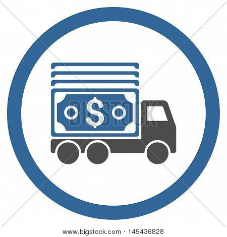 Cash Lorry rounded icon. Vector illustration style is flat iconic bicolor symbol, cobalt and gray colors, white background.