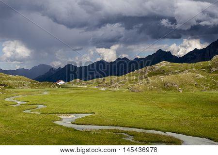 regensburger hut in the austrian alps on a rainy day