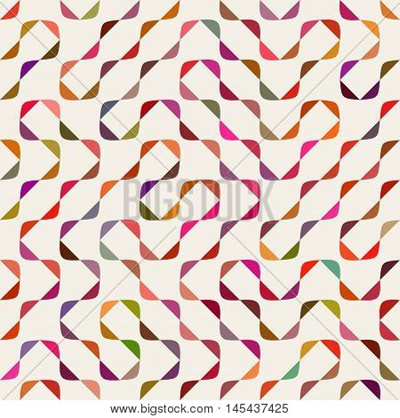 Vector Seamless Multicolor Maze Arcs Irregular Pattern. Abstract Geometric Background Design
