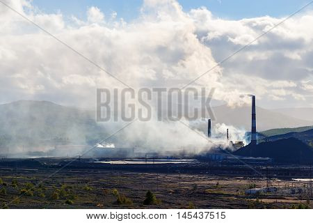 pollution of nature ecology. Industrial landscape in Karabash, Chelyabinsk region, Russia