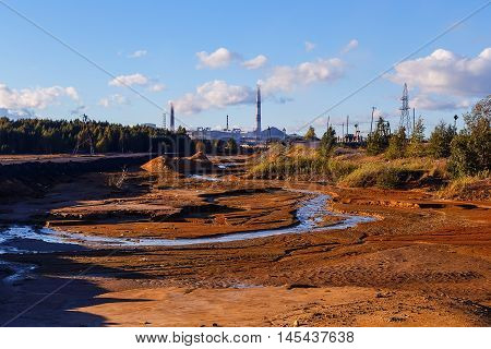 Industrial desert - aftermath of ecological catastrophe. environmental disaster