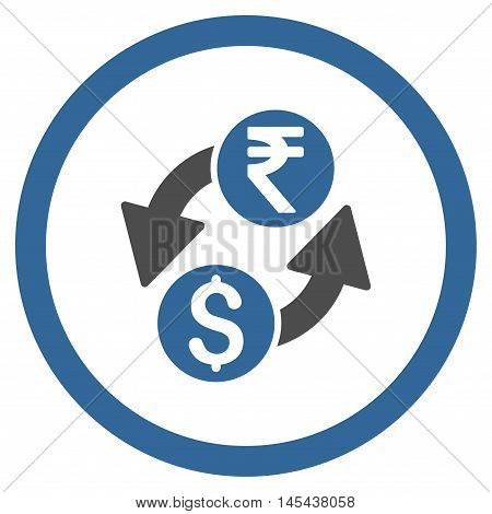 Dollar Rupee Exchange rounded icon. Vector illustration style is flat iconic bicolor symbol, cobalt and gray colors, white background.