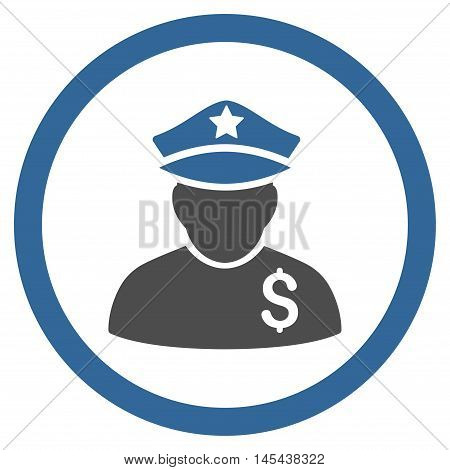 Financial Policeman rounded icon. Vector illustration style is flat iconic bicolor symbol, cobalt and gray colors, white background.