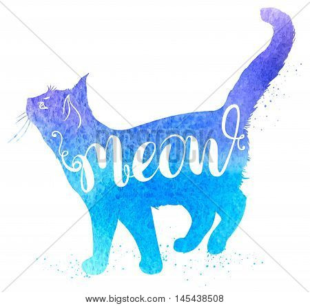 Background with blue watercolor cat and lettering