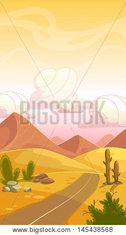 Cartoon desert landscape with cactuses, stone, sand dunes, road and cloudy sky. Vertical vector outdoor illustration. Background for game design.