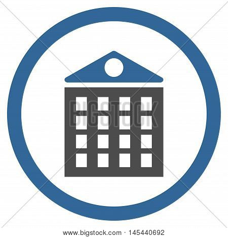 Multi-Storey House rounded icon. Vector illustration style is flat iconic bicolor symbol, cobalt and gray colors, white background.