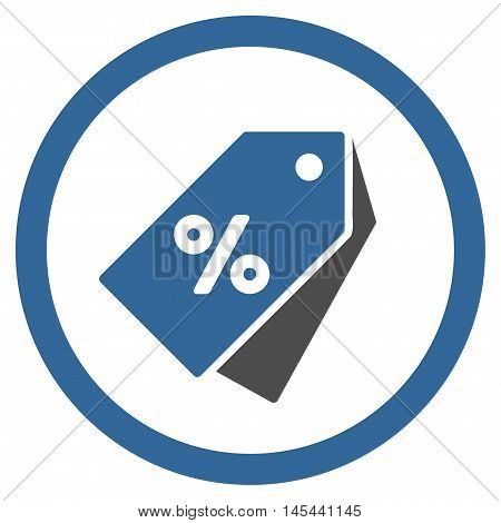 Percent Discount Tags rounded icon. Vector illustration style is flat iconic bicolor symbol, cobalt and gray colors, white background.