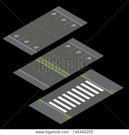 Isometric vector roads. Constructor roads. Isometric vector roads. Constructor roads. Vector illustration
