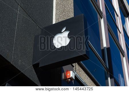 Amsterdam, The Netherlands - August 23, 2016: Apple logo. Apple Inc. is an American multinational technology company that designs, develops, and sells consumer electronics and computer software.