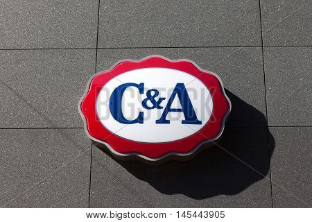 Amsterdam, The Netherlands - August 23, 2016: C&A logo. C&A is an international Dutch chain of fashion retail clothing stores, with its European head offices in Vilvoorde, Belgium.