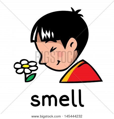 Icons of one of five senses - smell. Children vector illustration of boy in red t-shirt who shut his eyes and sniff the flower