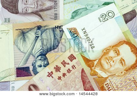 Banknotes Of Asian Countries.