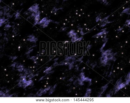 Windy cloudy sky with a lilac shade and lots of stars.