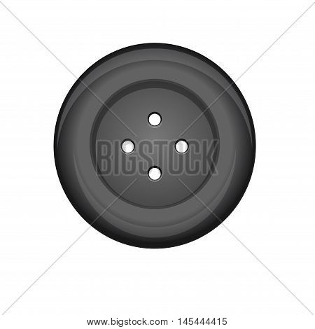 Sewing button stud icon. Black sewing button isolated on white background. Vector illustration