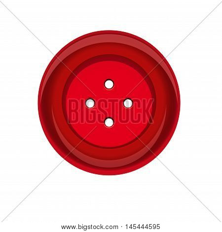 Sewing button stud icon. Red sewing button isolated on white background. Vector illustration