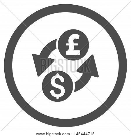 Dollar Pound Exchange rounded icon. Vector illustration style is flat iconic symbol, gray color, white background.
