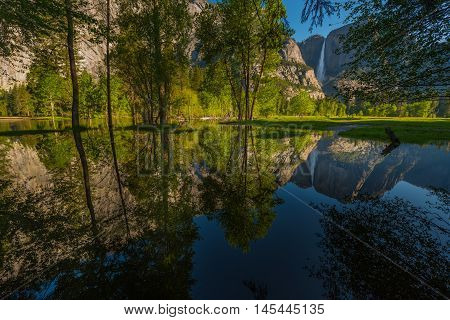 Yosemite Falls Reflection In The Merced River