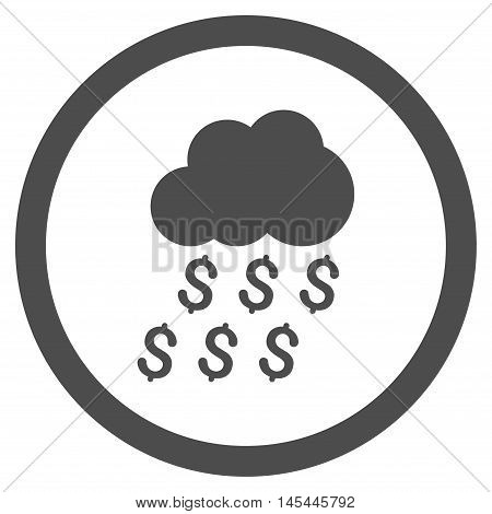 Money Rain rounded icon. Vector illustration style is flat iconic symbol, gray color, white background.
