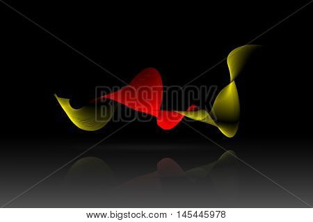 golden and red ribbon with reflex on black background. 3d illustration.