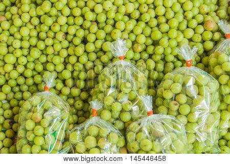Indian gooseberries selling at Northeast Thai local market