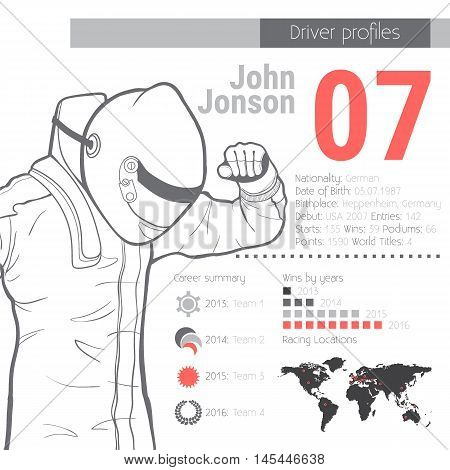 Driver profiles. Racing minimalistic infographic. Vector illustration