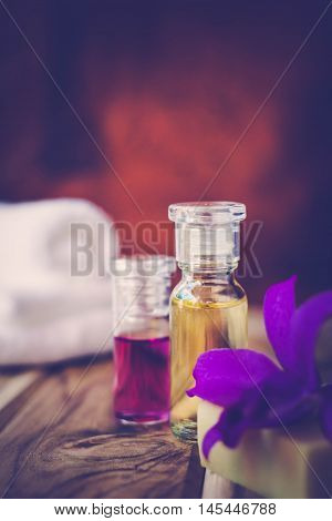 Purple Spa Theme with Oil and Orchid The concept Wellness.