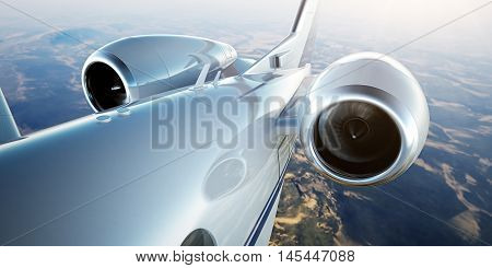 Photo of White Luxury Generic Design Private Jet Flying in Blue Sky at sunset.Closeup Picture of two Reactive Turbine.Mans world.Full power.Business Travel Picture.Horizontal, Film Effect. 3D rendering