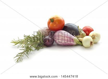 Summer veggies tomates, eggplants, Onion isolated on white