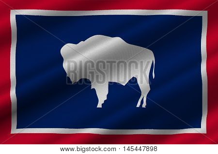 Flag of Wyoming is a state of the Western United States. 3D illustration