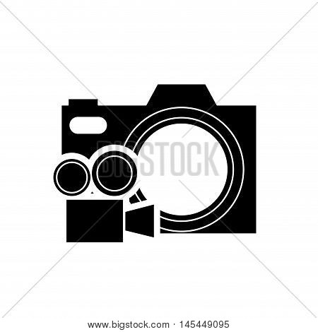 flat design photographic camera and film projector icon vector illustration