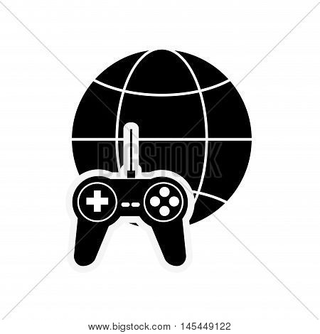 flat design earth globe diagram and game controller icon vector illustration